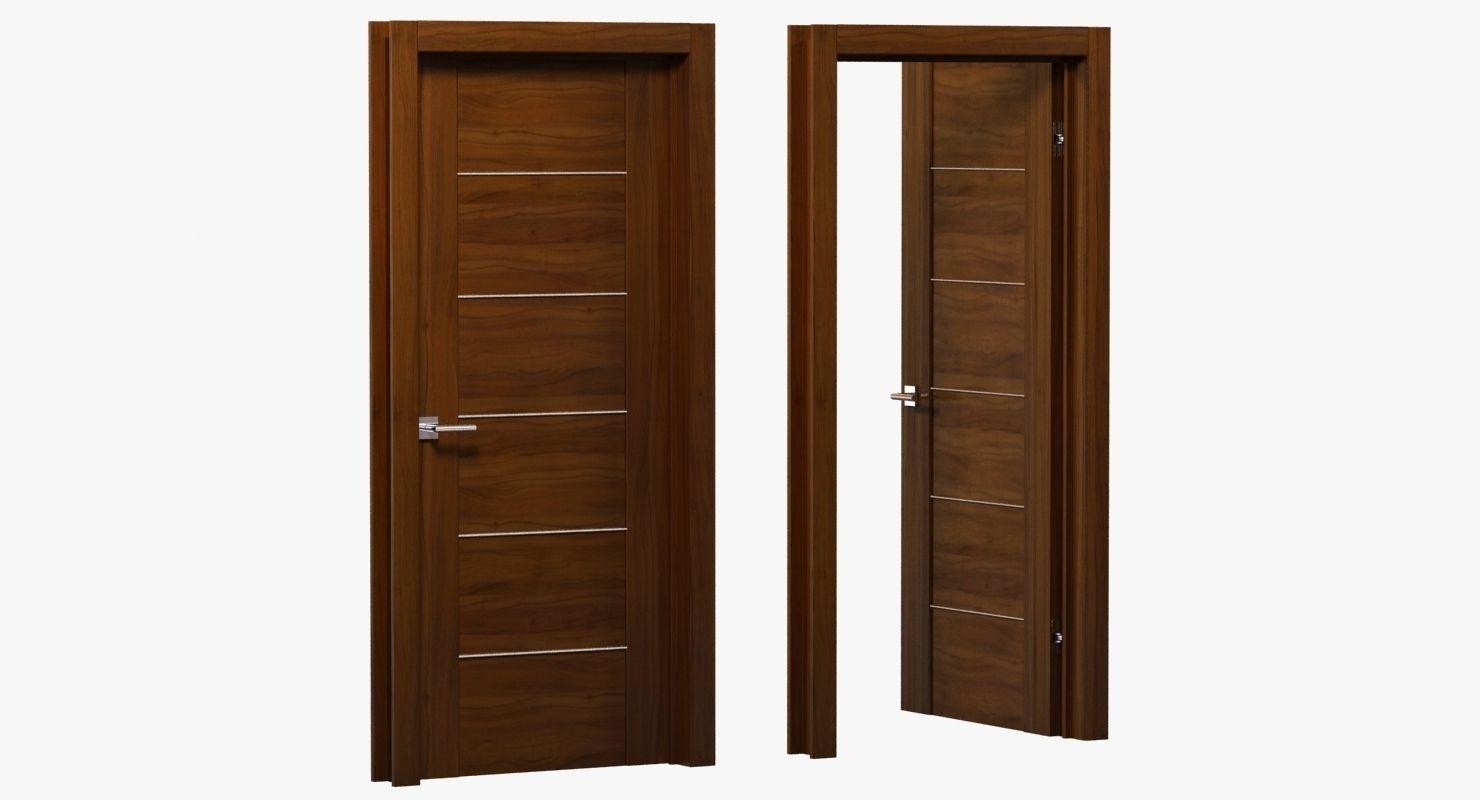 Amazing Modern Brown Wood Door 3d Model Max Obj 3ds Fbx Mtl Unitypackage 1 ...