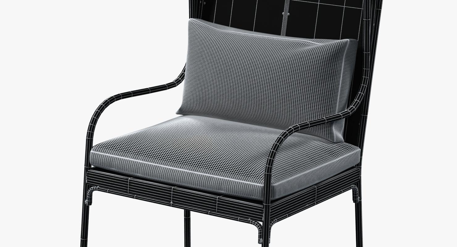 Restoration Hardware Iron Wingback Chair 3d Model Max Obj Mtl 3ds Fbx