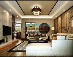 Stylish and luxurious villa living room design reception hall 239 3D Model