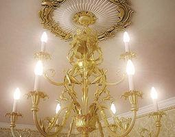 baroque chandelier 3d model