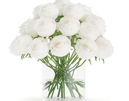 3d model white roses in glass vase