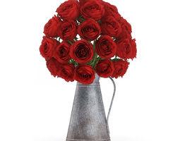 3D model Red Roses in Metal Kettle