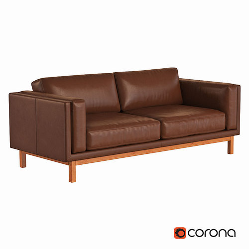 West Elm Dekalb Leather Sofa 3D Model