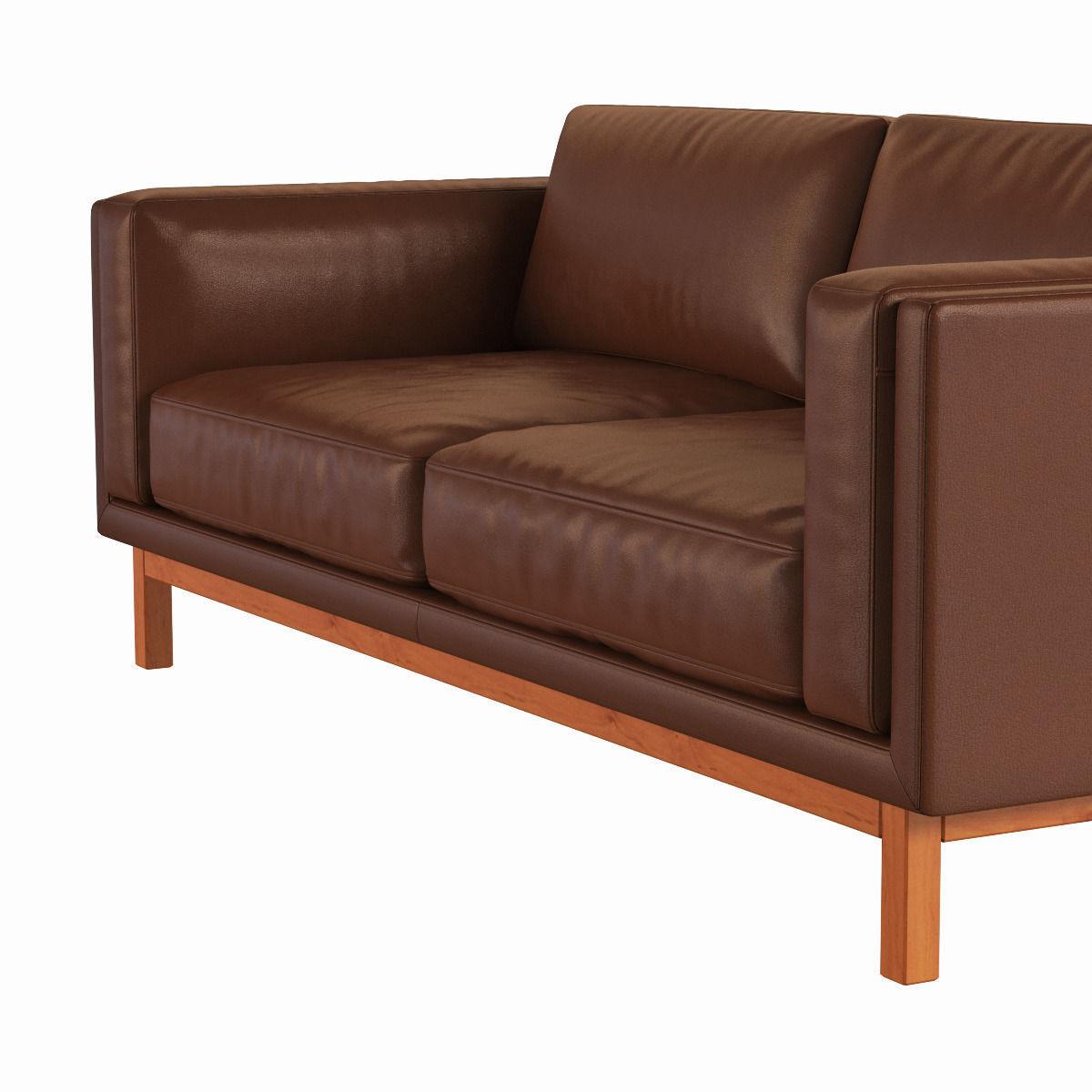 West Elm Dekalb Leather Sofa 3d Model Max Obj Fbx