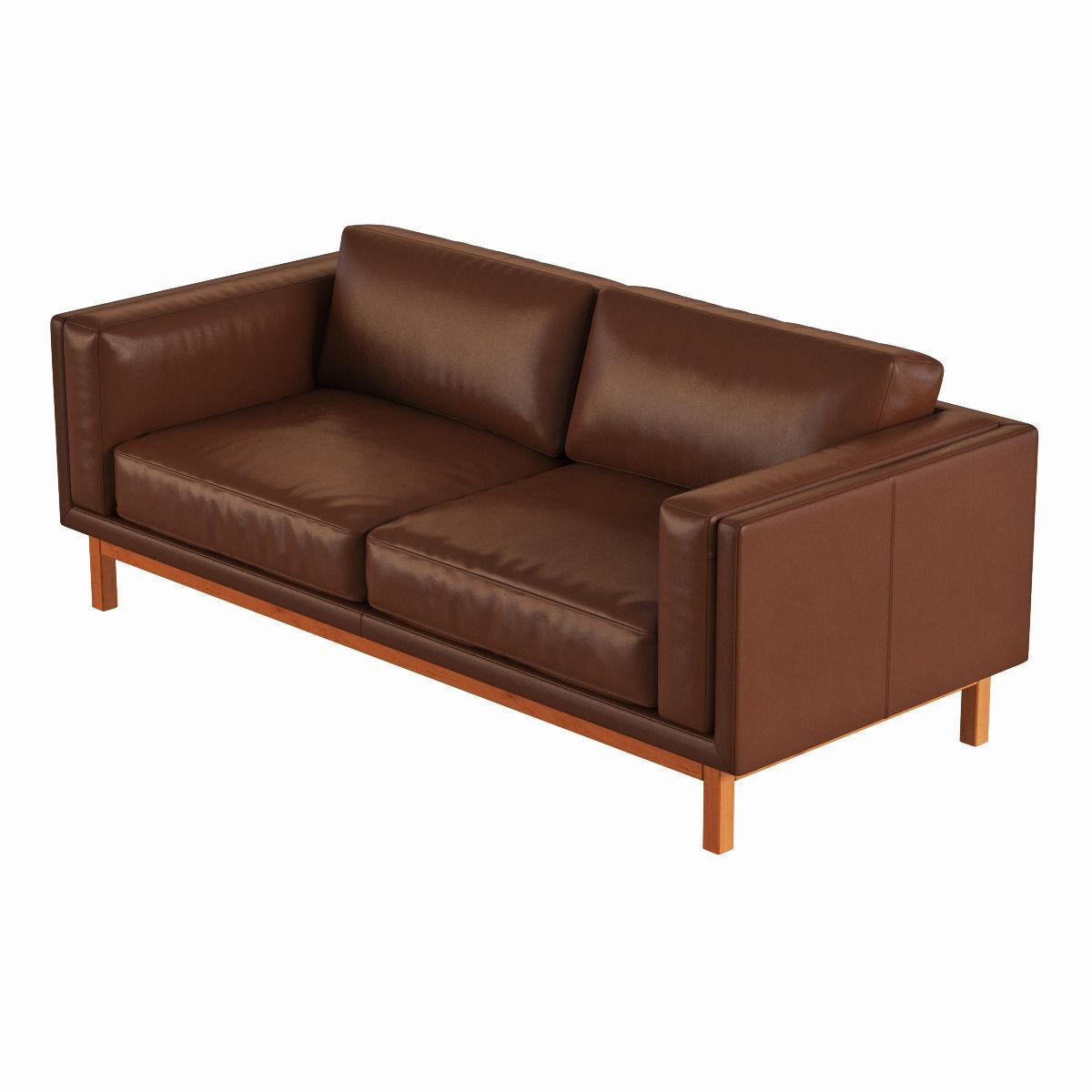 West elm dekalb leather sofa 3d model max obj fbx for Elm furniture