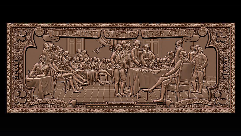 Two Dollars 1776 - 3D print model