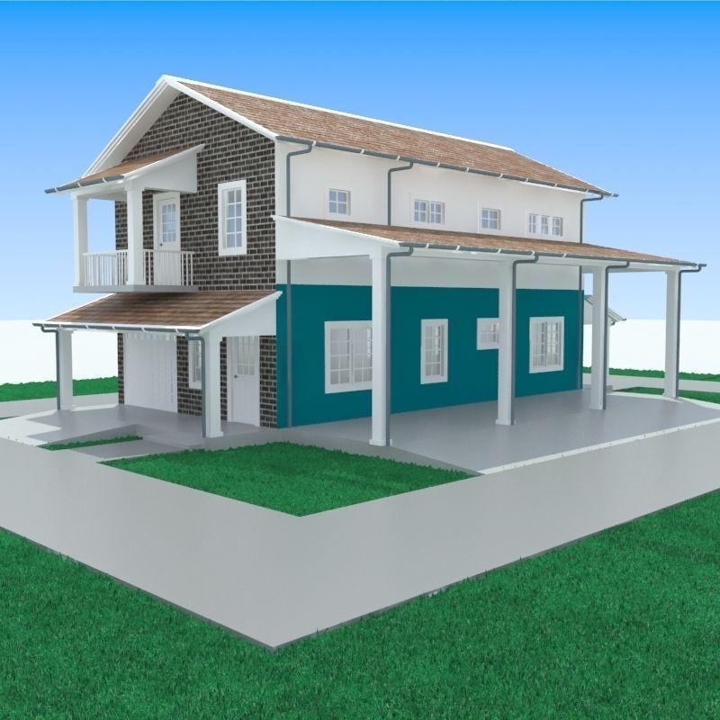 Apartment With Garage-1 3D Model .max .obj .3ds .fbx