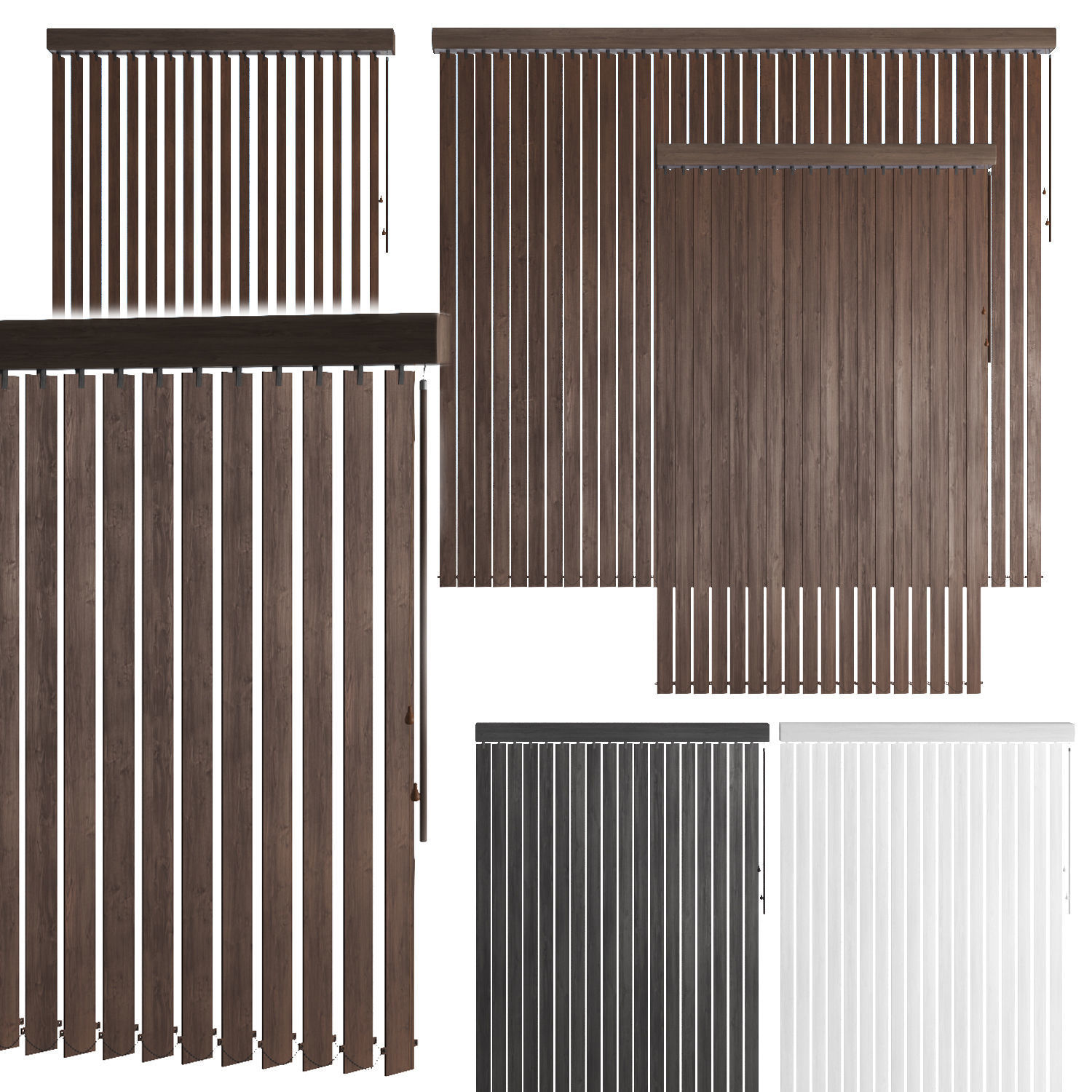 Vertical wooden blinds 3 options 3 colors