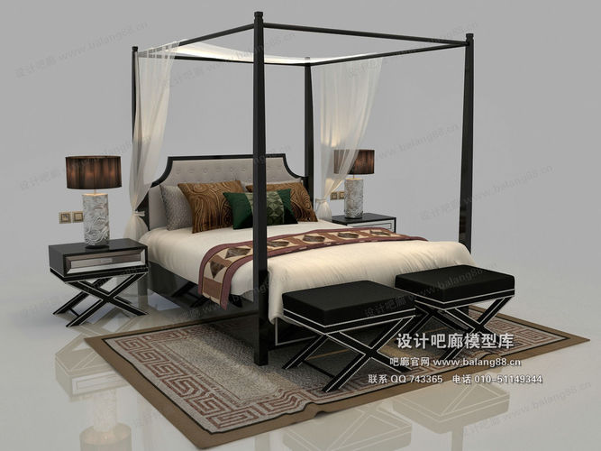 New Model Beds : Chinese exquisite fashion bed model 02 3D Model .max - CGTrader.com
