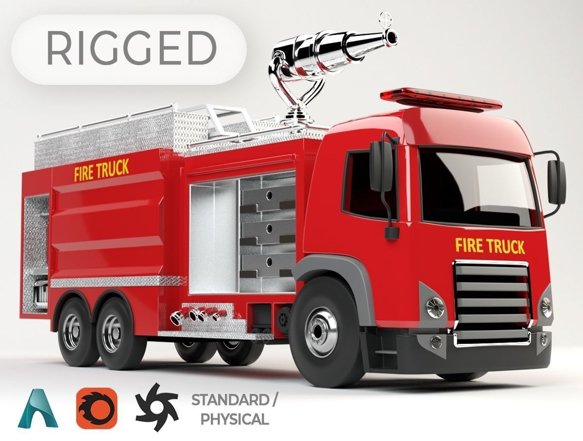 3D model of  rigged Fire Truck cartoon ready to animate