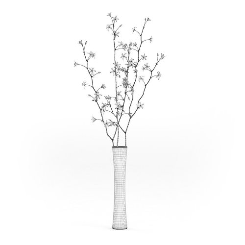 Flowering Tree Twigs In Glass Vase 3d Cgtrader