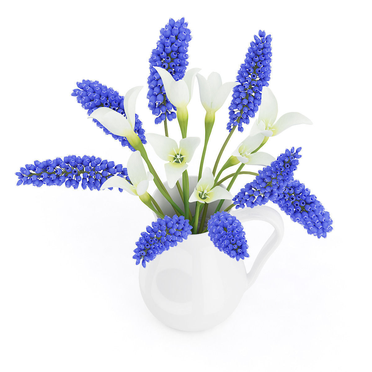 3d Blue And White Flowers In White Pot Cgtrader