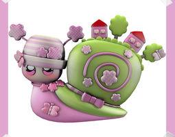 Cute Snail world in many colours 3D model