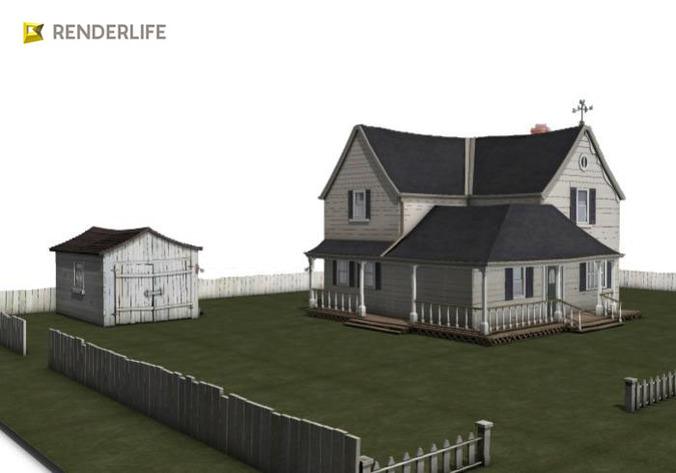 Old farmhouse exterior 3d model max obj fbx c4d ma for Exterior 3d model