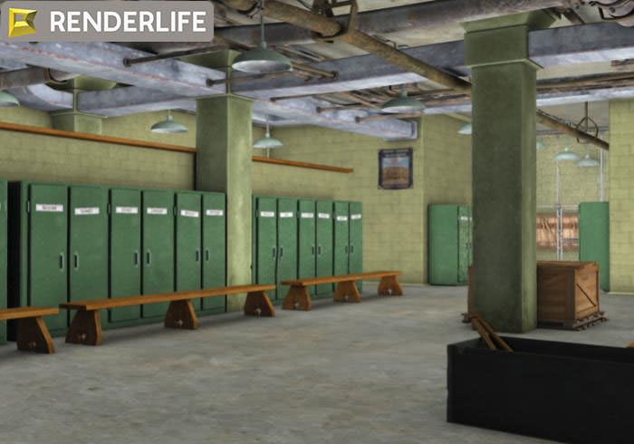 Vintage Locker Room Interior 3d Model Max Obj Fbx C4d