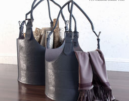 3D model Two gunmetal leather totes