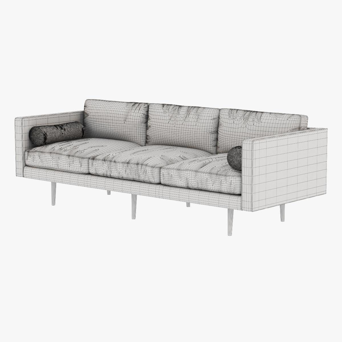 west elm monroe midcentury sofa 3d model max obj fbx mtl 6