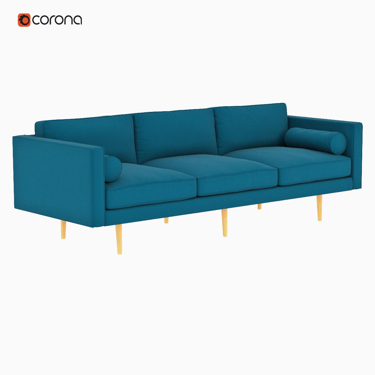 West Elm Monroe Mid Century Sofa 3d Model Max Obj Mtl Fbx 1 ...