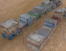 3d asset low-poly shanty town buildings 2 town blocks rigged