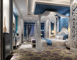 3D Luxurious Bed Room with Blue Interior