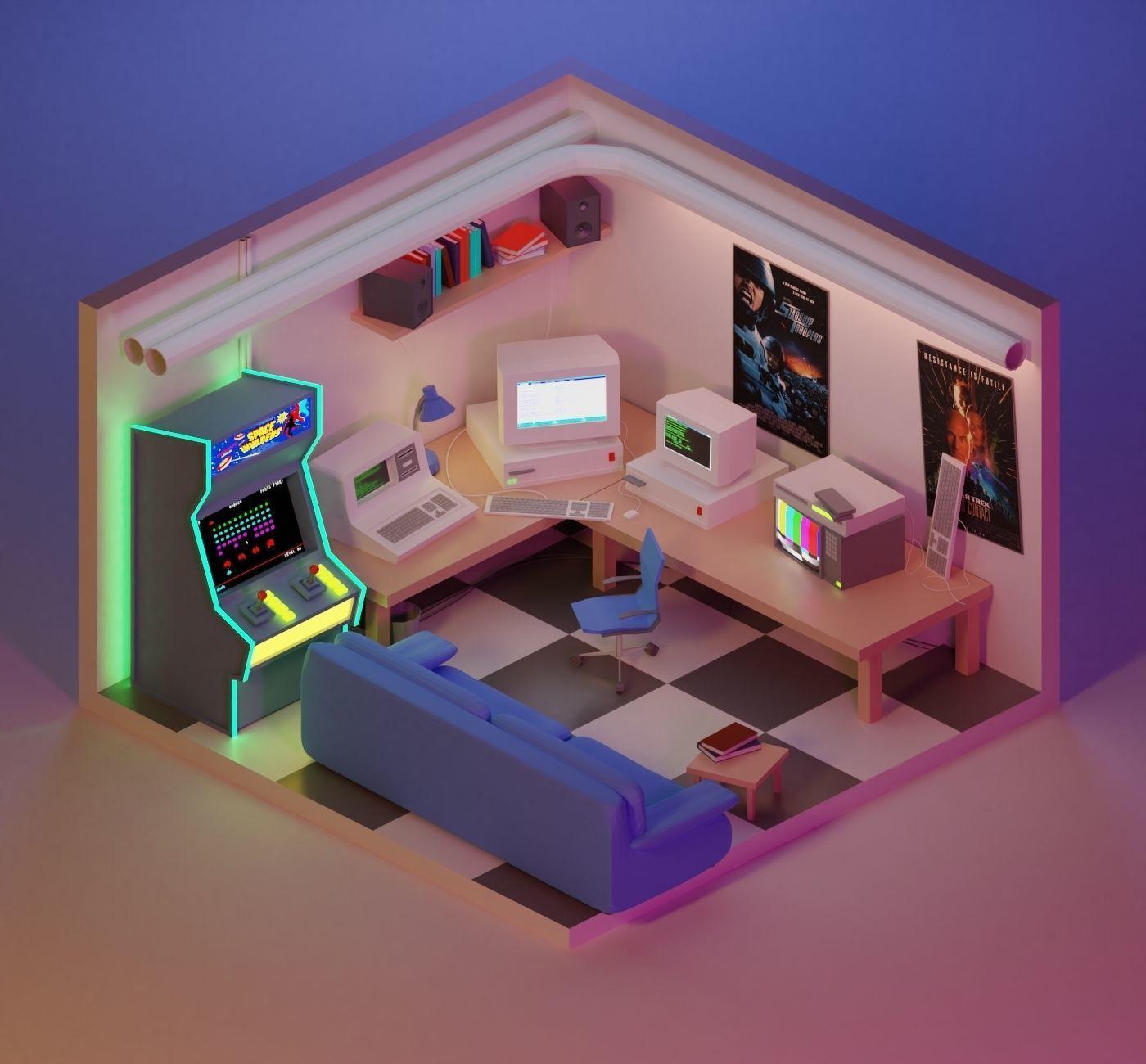 90s Retro Gaming Room