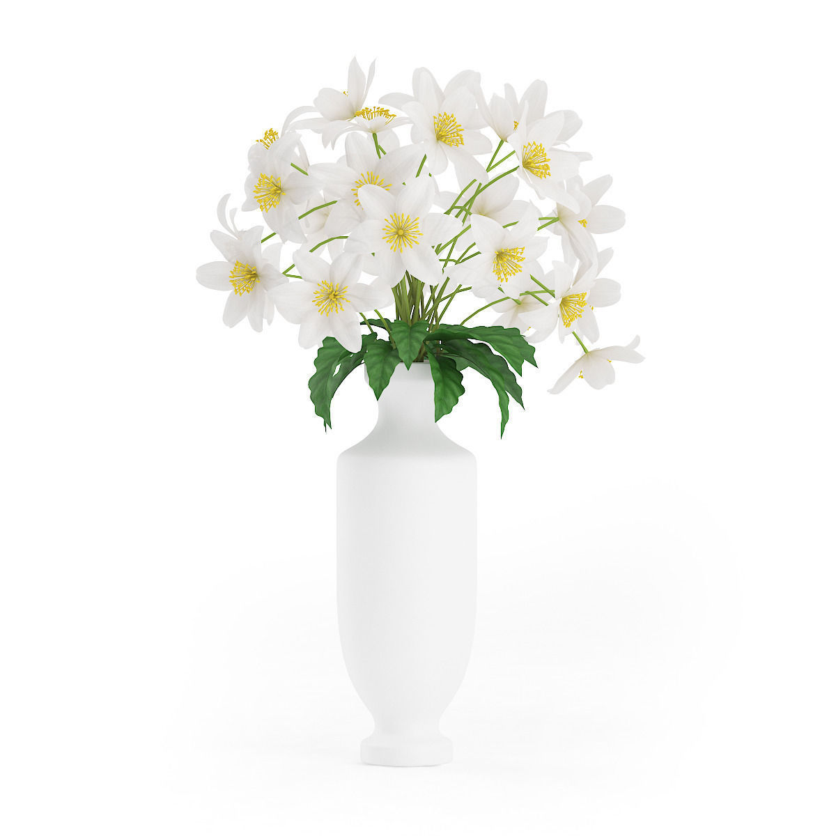 White Flowers In Tall Vase 3d Cgtrader
