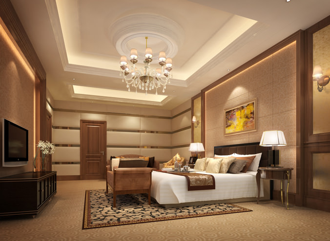 3d luxurious hotel bed room cgtrader for Model living room design