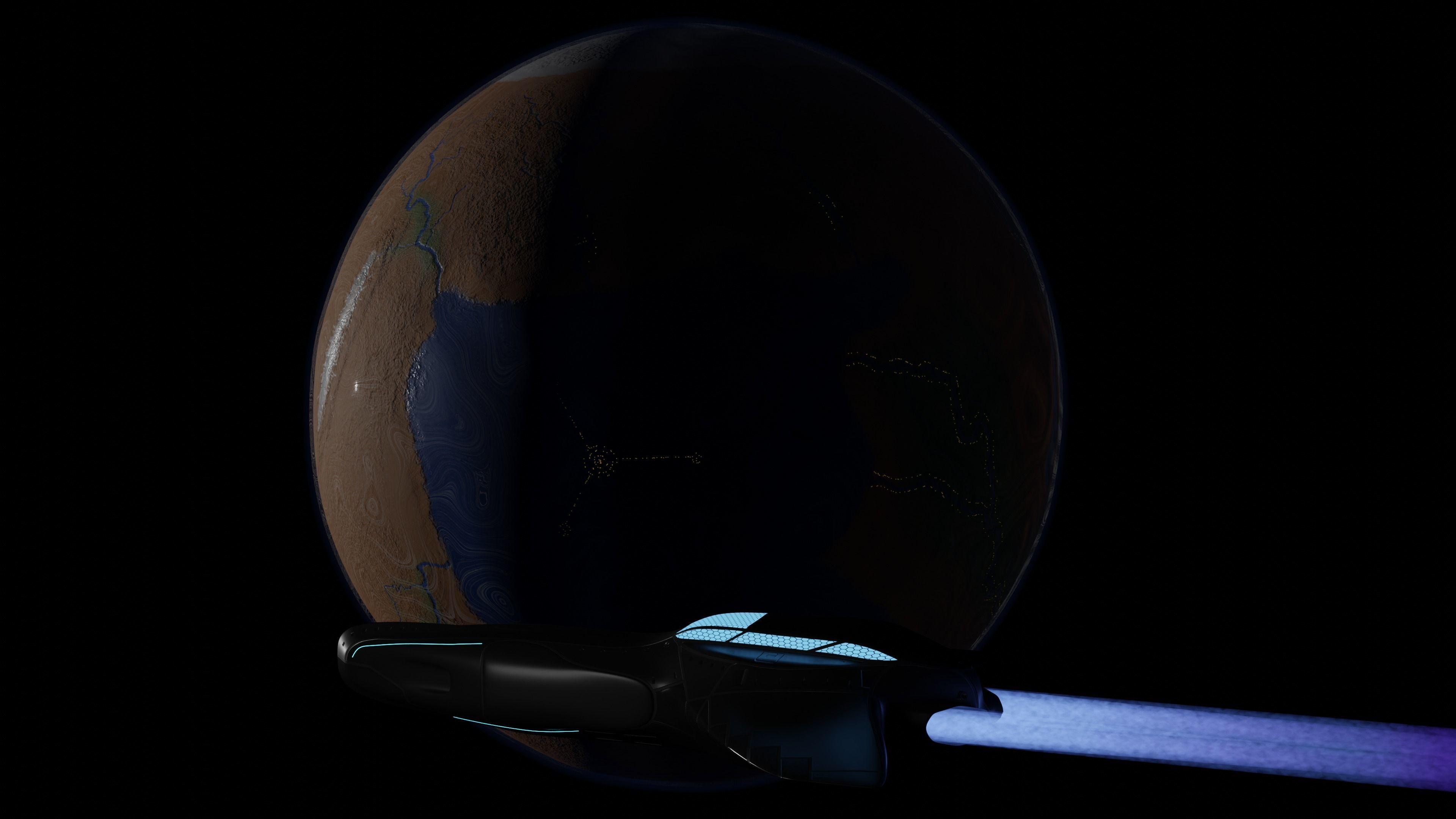 Planet and Spaceship