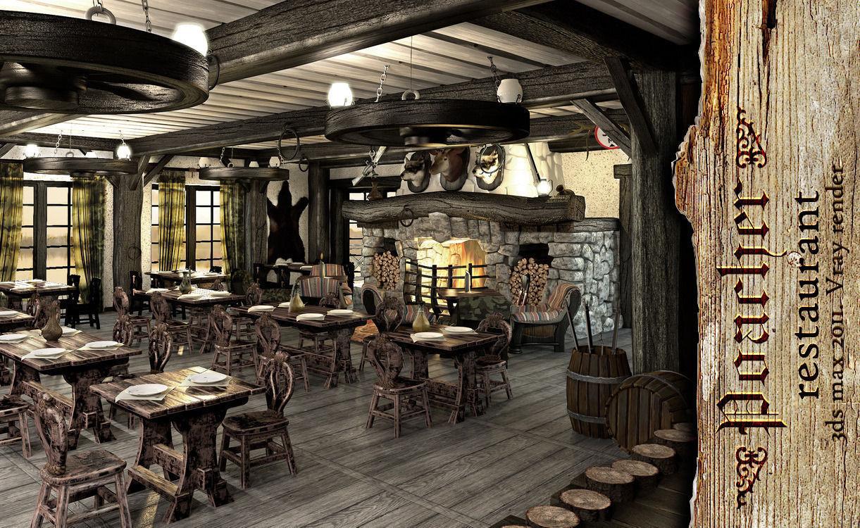 Poacher banquet restaurant 3d model max tga for Restaurant 3d max