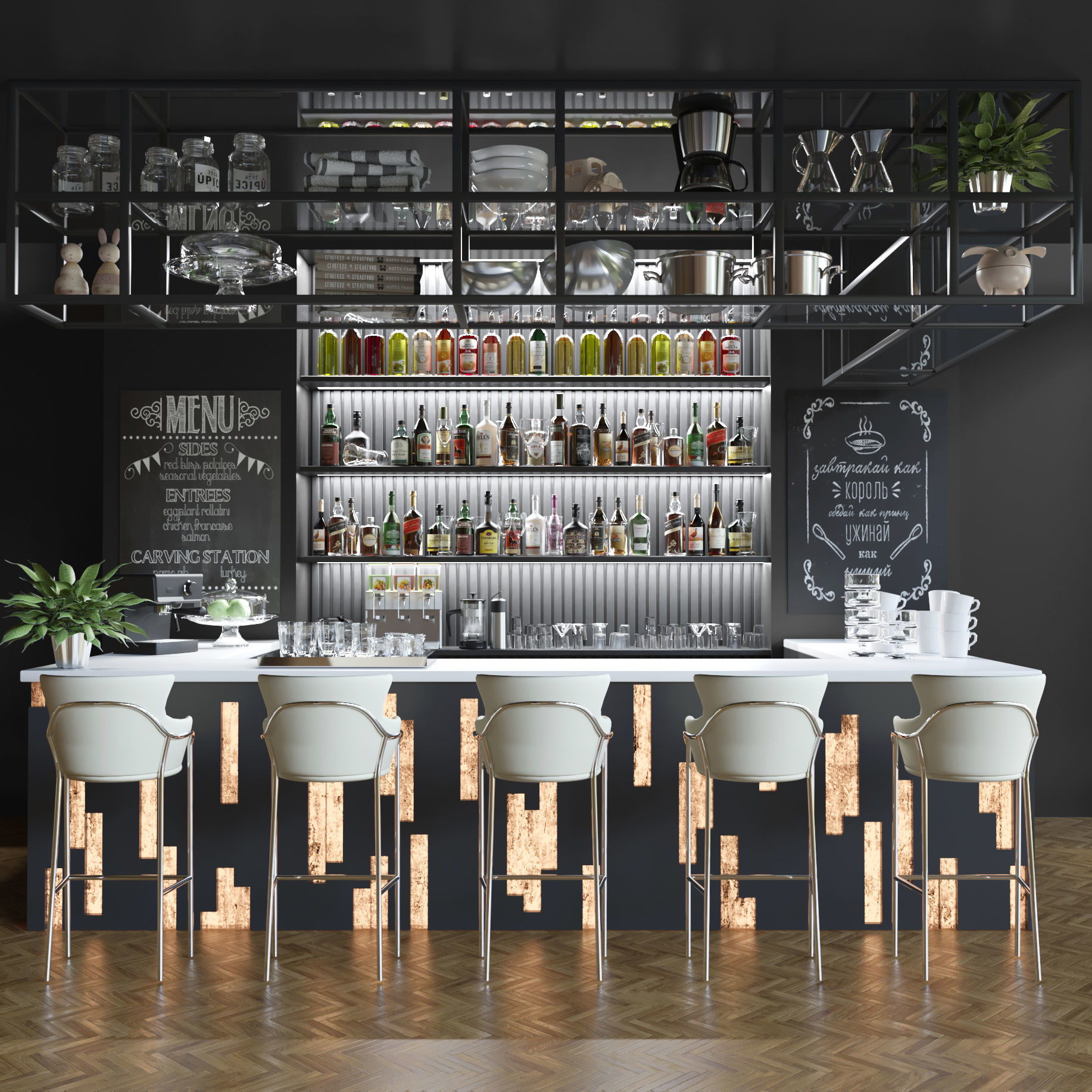 Large bar with alcoholic drinks 2