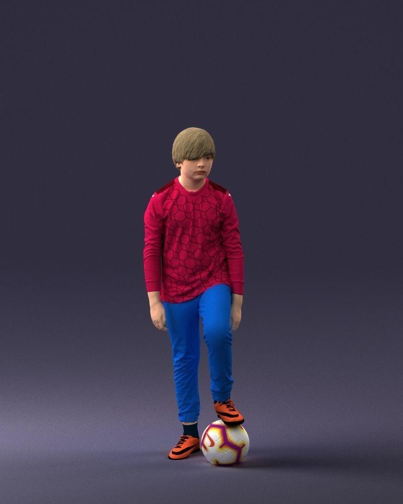 Boy with soccer ball 1224 3D Print Ready