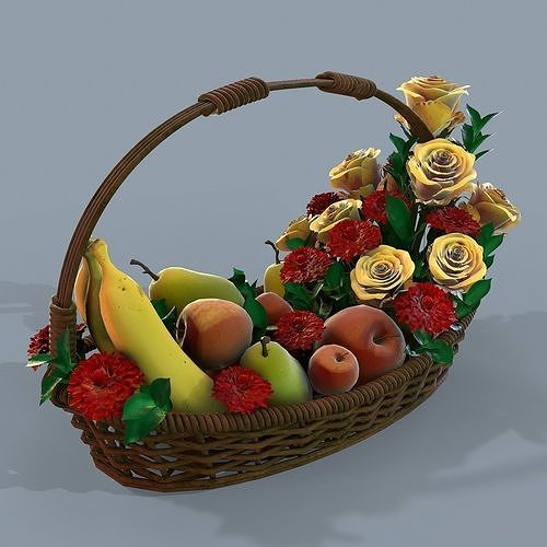 Basket with flowers and fruits 3d model