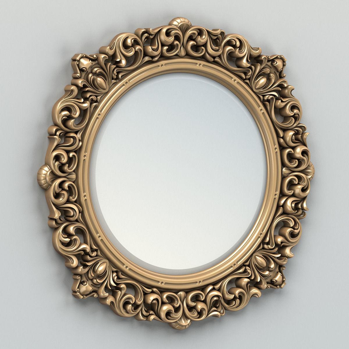 Round Mirror Frame 001 3d Model Max Obj Mtl Fbx Stl 1