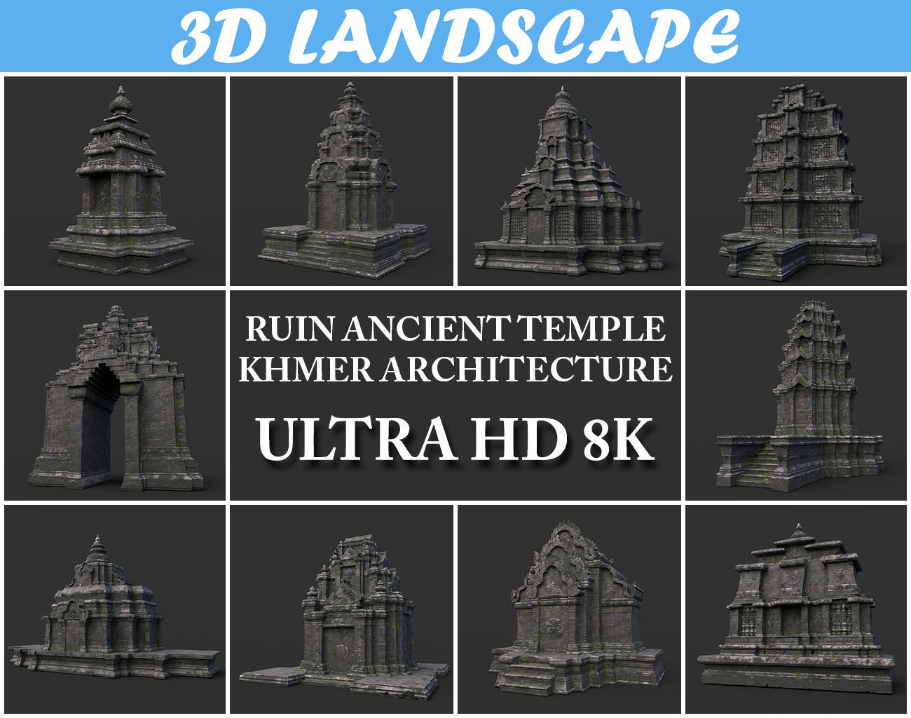 Ruin Ancient Temple - Khmer Architecture Pack B-01