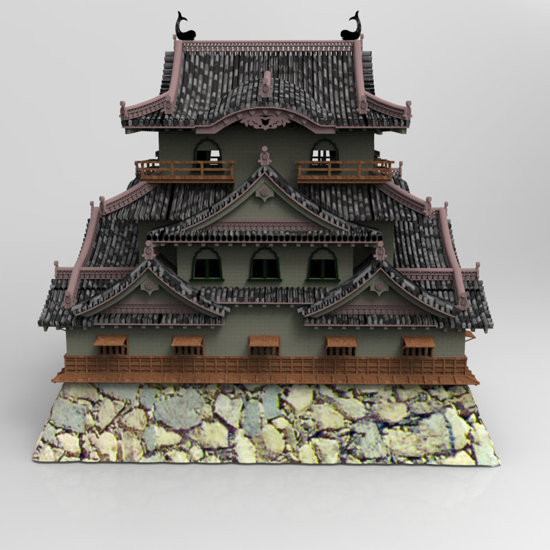 3d hikone castle in studio max obj and fbx formats