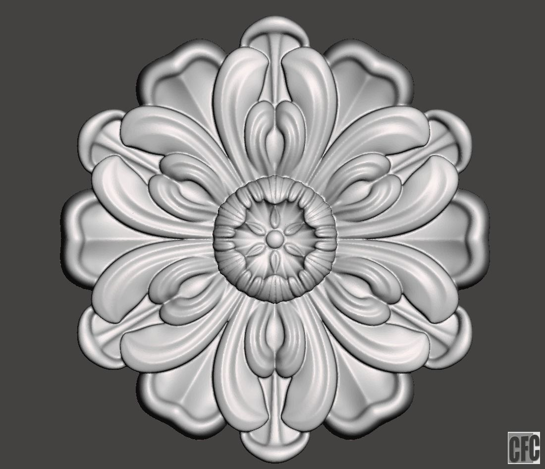 WoodCarving floral detail - 3d model for CNC - FlowerCFC13