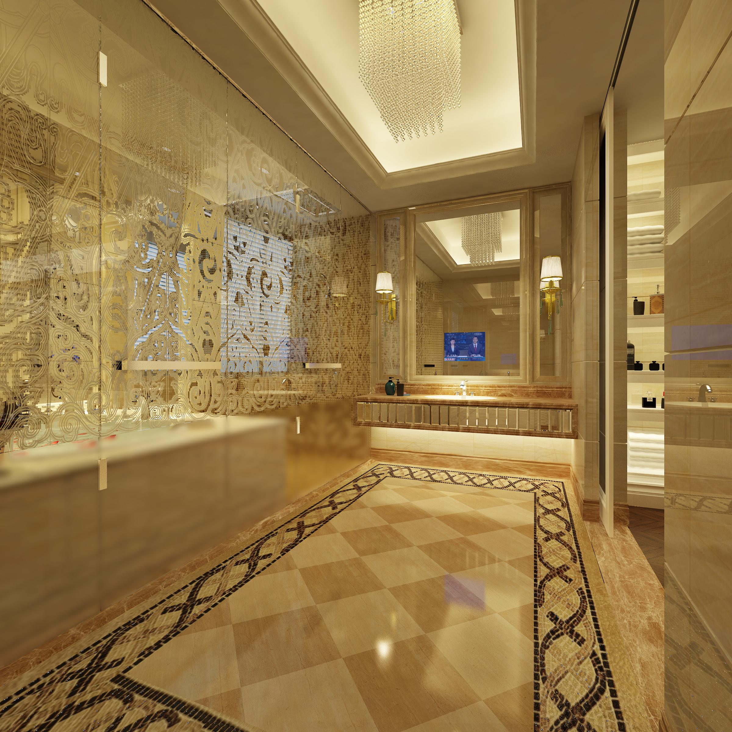 Luxury bathroom 3D model shower | CGTrader