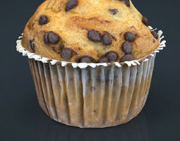 low-poly chocolate chip cupcake 3d model