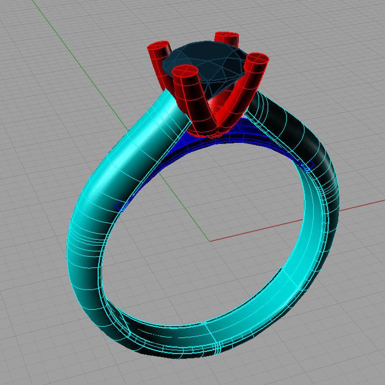 Solitaire Tiffany Ring 3D Model Anello solitario sl50