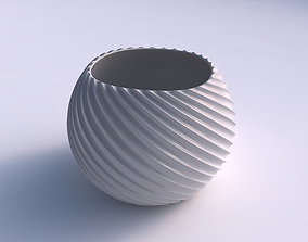 3D printable model Bowl spheric with bent extruded lines 3
