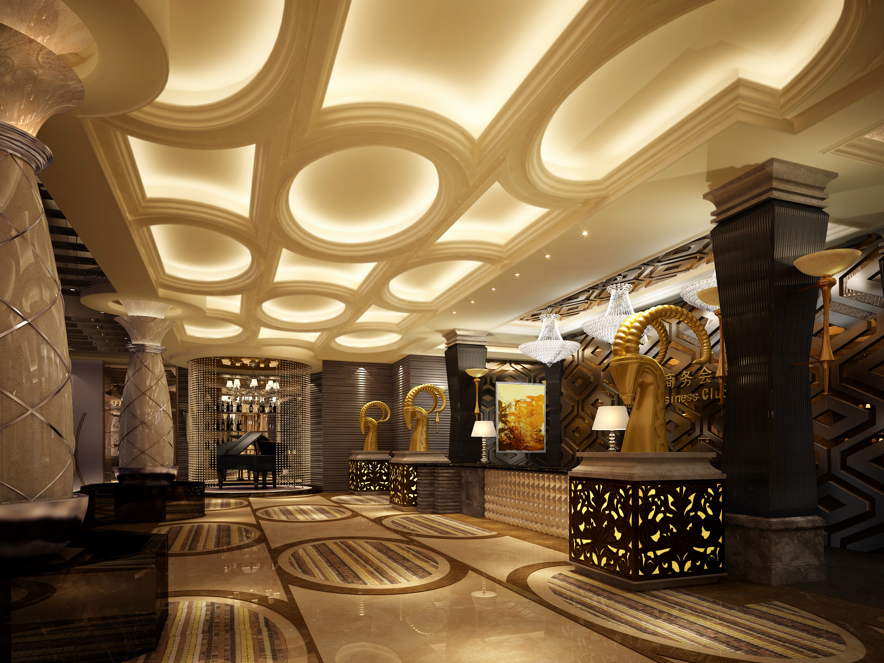 Luxury lobby 3d model max for Interior designs images free download
