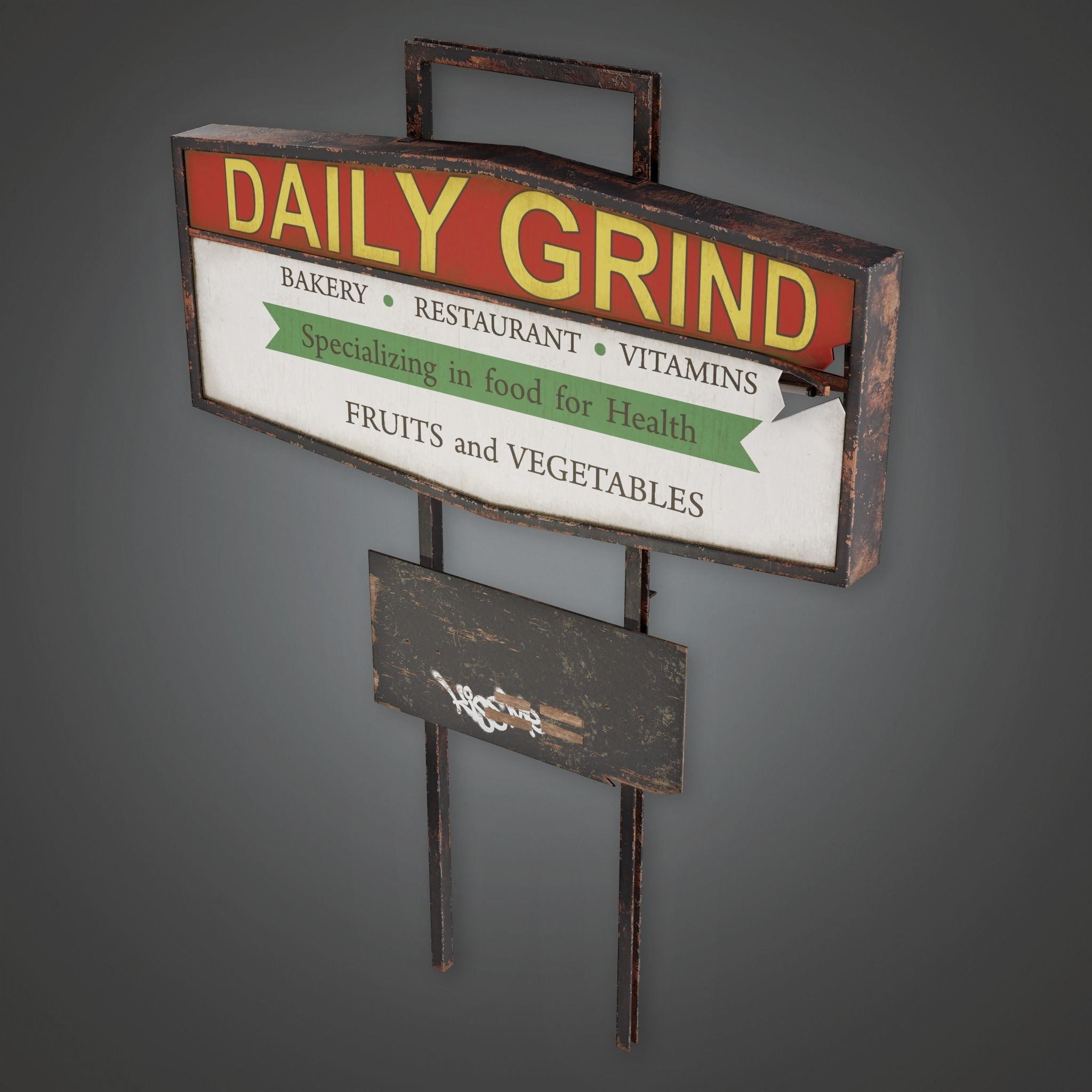 PAS - Post Apocalyptic Abandoned Sign 03 - PBR Game Ready