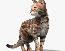 Bengal cat 2 FUR ANIMATED 3D Model