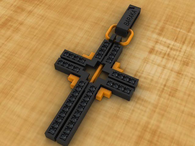 cross with black stones 3d model 3dm 1