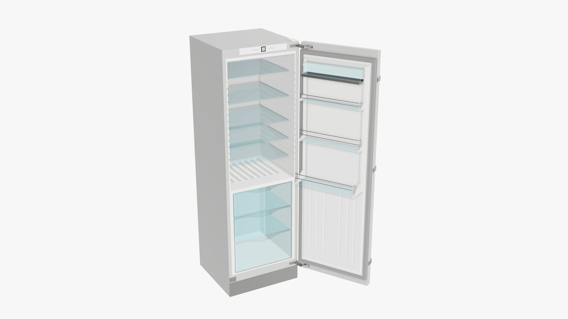 Refrigerator free-standing opened