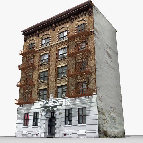 New york brick building 3d model game ready max obj 3ds for Model houses in new york