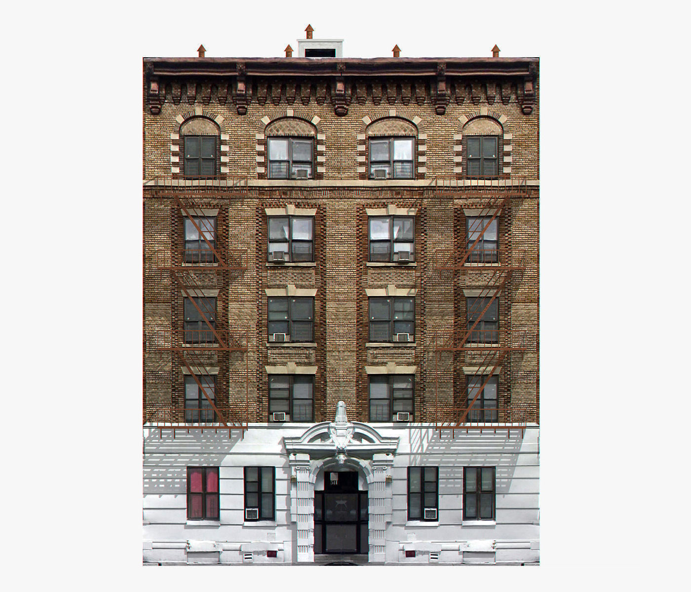 New York Brick Building 3d Model Game Ready Max Obj 3ds