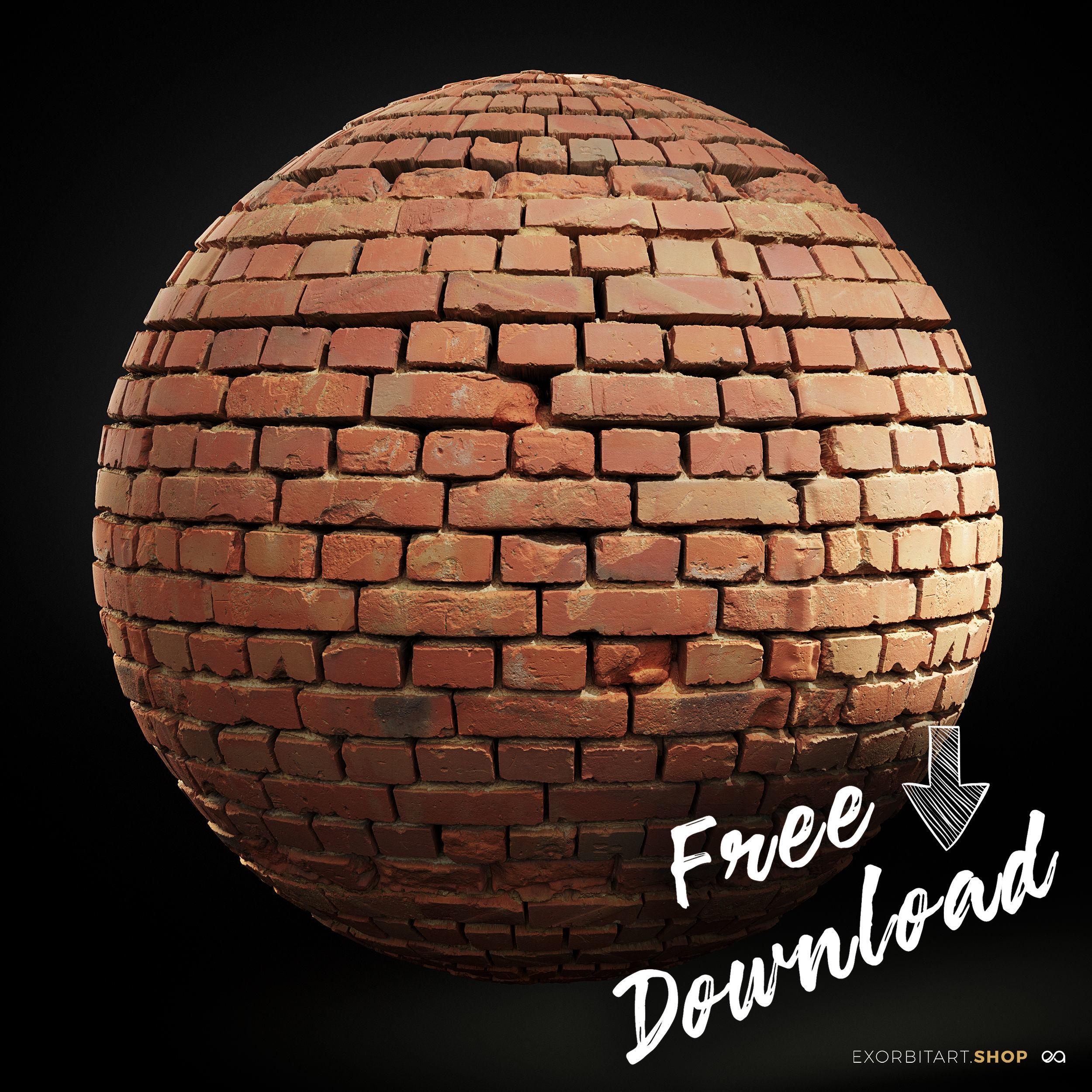 FREE Scanned PBR Texture Scanned Worn Loft Brick Wall 4k 8k 16k