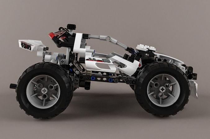 lego technic quad bike alternative model 3d model max. Black Bedroom Furniture Sets. Home Design Ideas
