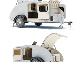 Teardrop Trailer 01 with Interior 3D Model